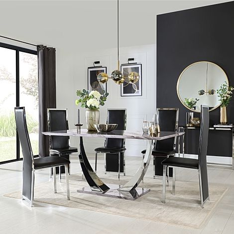 Peake Grey Marble and Chrome Dining Table with 6 Celeste Black Leather Chairs