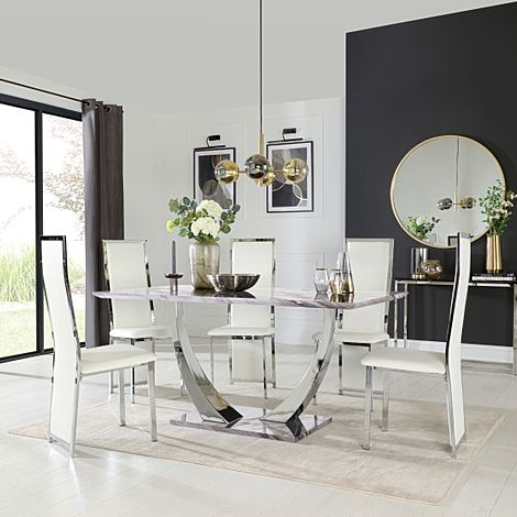 Peake Grey Marble and Chrome Dining Table with 6 Celeste White Leather Chairs