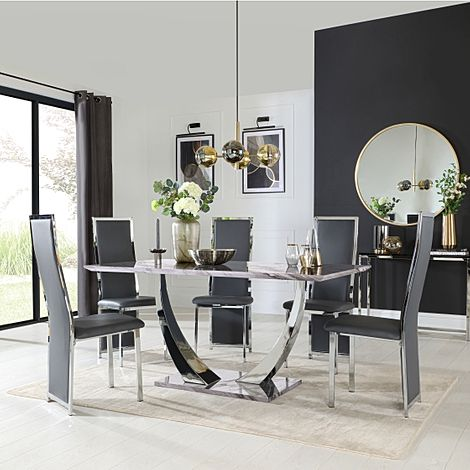Peake Grey Marble and Chrome Dining Table with 6 Celeste Grey Leather Chairs