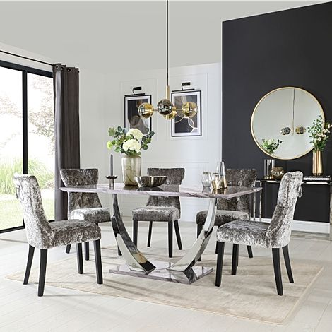 Peake Grey Marble and Chrome Dining Table with 6 Kensington Silver Velvet Chairs