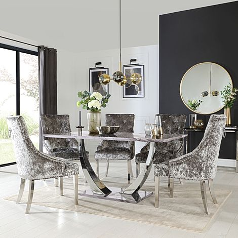 Peake Grey Marble and Chrome Dining Table with 6 Imperial Silver Velvet Chairs