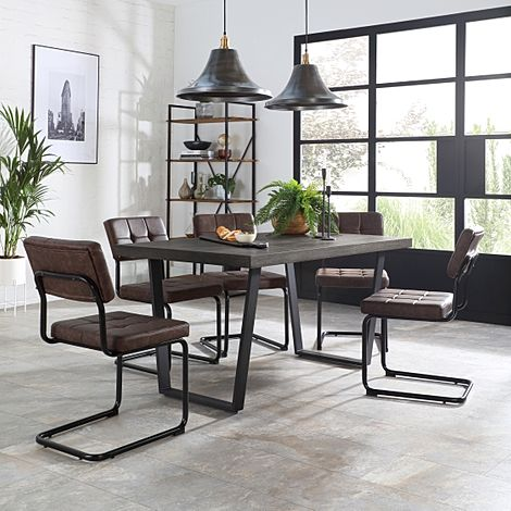 Addison 200cm Grey Wood Dining Table with 6 Carter Vintage Brown Leather Chairs