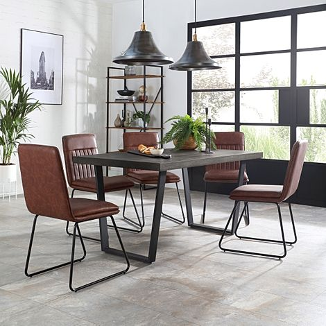 Addison 200cm Grey Wood Dining Table with 4 Flint Tan Leather Chairs