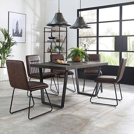 Addison 200cm Grey Wood Dining Table with 6 Flint Vintage Brown Leather Chairs