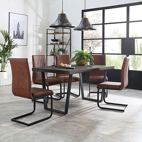 Addison 200cm Grey Wood Dining Table with 4 Perth Tan Leather Chairs