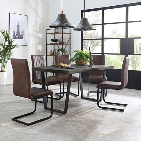 Addison 200cm Grey Wood Dining Table with 4 Perth Vintage Brown Leather Chairs
