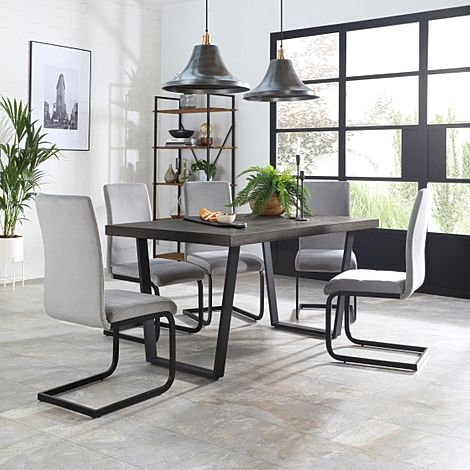 Addison 200cm Grey Wood Dining Table with 6 Perth Grey Velvet Chairs