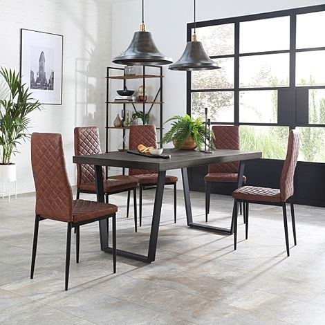 Addison 200cm Grey Wood Dining Table with 4 Renzo Tan Leather Chairs