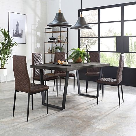 Addison 200cm Grey Wood Dining Table with 4 Renzo Vintage Brown Leather Chairs