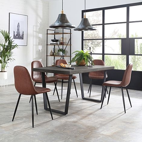 Addison 200cm Grey Wood Dining Table with 4 Brooklyn Tan Leather Chairs