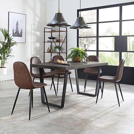 Addison 200cm Grey Wood Dining Table with 6 Brooklyn Vintage Brown Leather Chairs