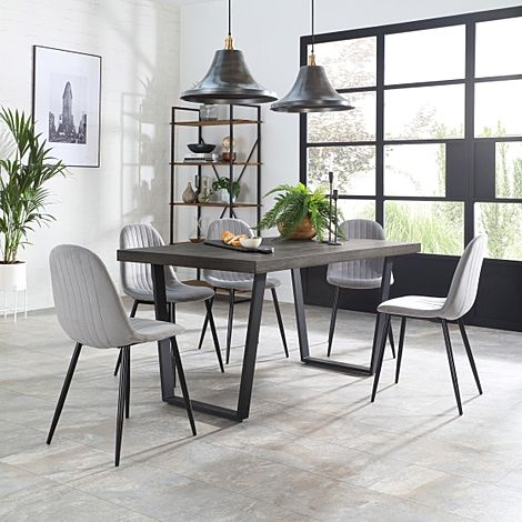 Addison 200cm Grey Wood Dining Table with 4 Brooklyn Grey Velvet Chairs