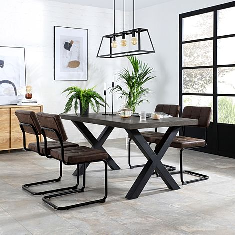 Franklin 200cm Grey Wood Dining Table with 4 Carter Vintage Brown Leather Chairs