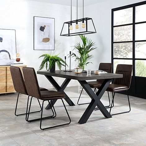 Franklin 200cm Grey Wood Dining Table with 4 Flint Vintage Brown Leather Chairs