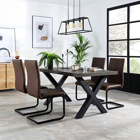 Franklin 200cm Grey Wood Dining Table with 4 Perth Vintage Brown Leather Chairs