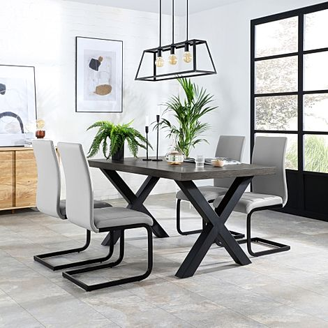 Franklin 200cm Grey Wood Dining Table with 6 Perth Light Grey Leather Chairs (Black Legs)