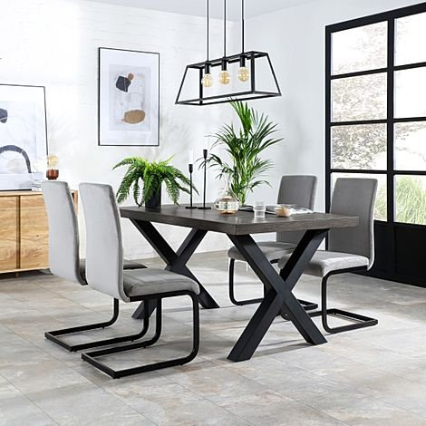 Franklin 200cm Grey Wood Dining Table with 6 Perth Grey Velvet Chairs (Black Legs)