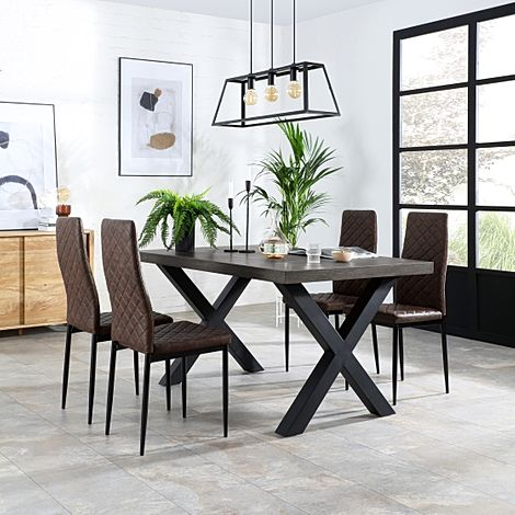 Franklin 200cm Grey Wood Dining Table with 4 Renzo Vintage Brown Leather Chairs