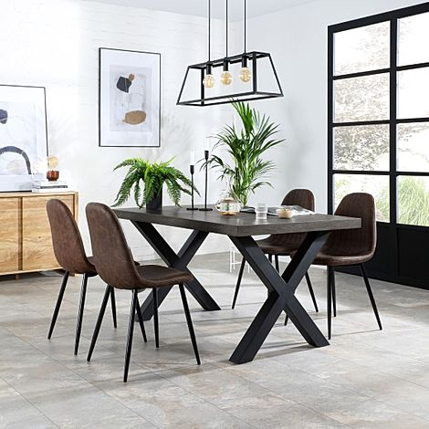 Franklin 200cm Grey Wood Dining Table with 6 Brooklyn Vintage Brown Leather Chairs