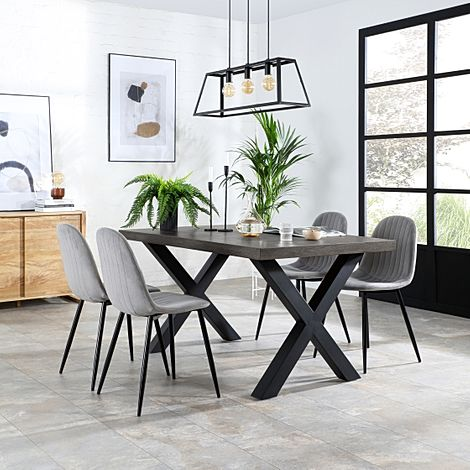 Franklin 200cm Grey Wood Dining Table with 4 Brooklyn Grey Velvet Chairs