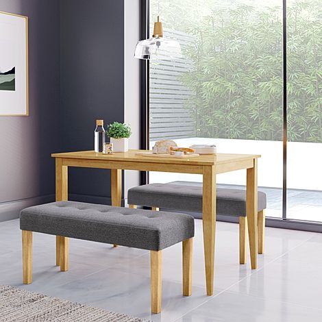 Finley Oak Dining Table with 2 York Slate Grey Fabric Benches