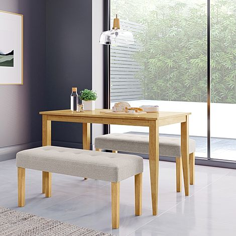Finley Oak Dining Table with 2 York Oatmeal Fabric Benches