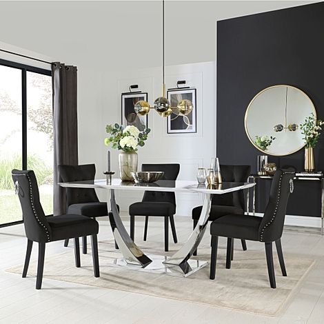 Peake White Marble and Chrome Dining Table with 6 Kensington Black Velvet Chairs
