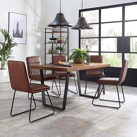 Addison 200cm Industrial Oak Dining Table with 6 Flint Tan Leather Chairs