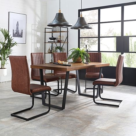 Addison 200cm Industrial Oak Dining Table with 4 Perth Tan Leather Chairs