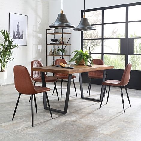 Addison 200cm Industrial Oak Dining Table with 6 Brooklyn Tan Leather Chairs