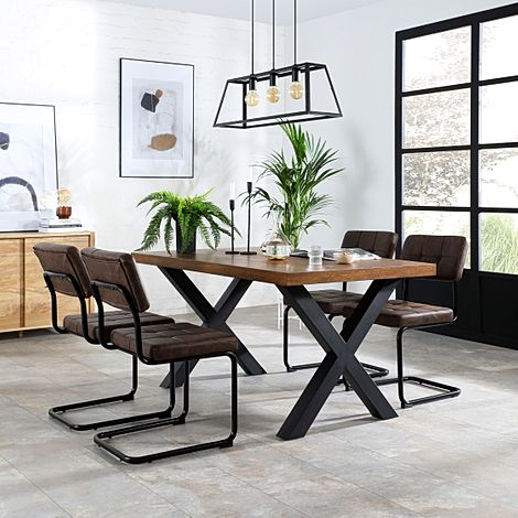 Franklin 200cm Industrial Oak Dining Table with 4 Carter Vintage Brown Leather Chairs