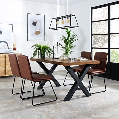 Franklin 200cm Industrial Oak Dining Table with 4 Flint Tan Leather Chairs