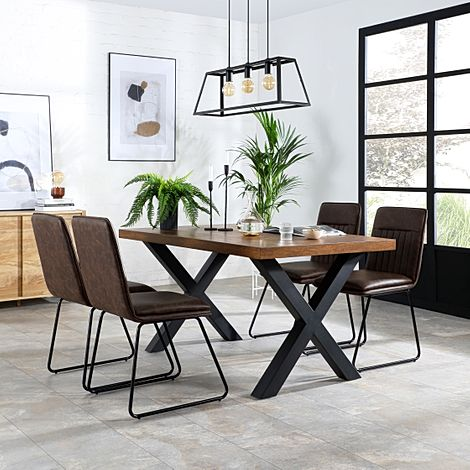 Franklin 200cm Industrial Oak Dining Table with 4 Flint Vintage Brown Leather Chairs