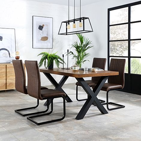 Franklin 200cm Industrial Oak Dining Table with 4 Perth Vintage Brown Leather Chairs
