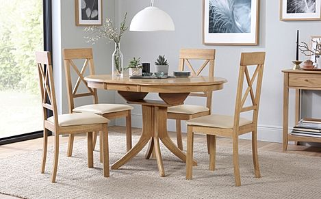 Hudson Round Oak Extending Dining Table with 4 Kendal Chairs (Ivory Leather Seat Pads)