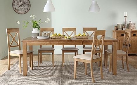Highbury Oak Extending Dining Table with 6 Kendal Chairs (Ivory Leather Seat Pads)