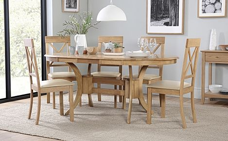 Townhouse Oval Oak Extending Dining Table with 6 Kendal Chairs (Ivory Leather Seat Pads)