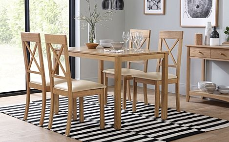 Milton Oak Dining Table with 6 Kendal Chairs (Ivory Leather Seat Pads)