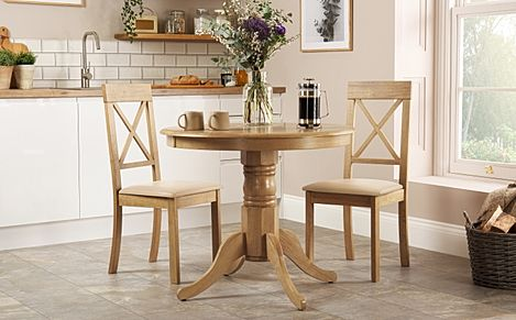 Kingston Round Oak Dining Table with 2 Kendal Chairs (Ivory Leather Seat Pads)