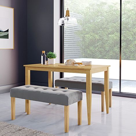 Finley Oak Dining Table with 2 York Grey Velvet Benches