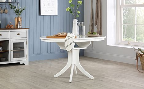Hudson Round White Extending Dining Room Table - 90-120
