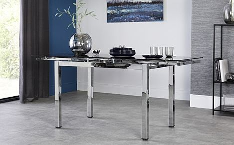 Space Chrome and Black Glass 110-170cm Extending Dining Table