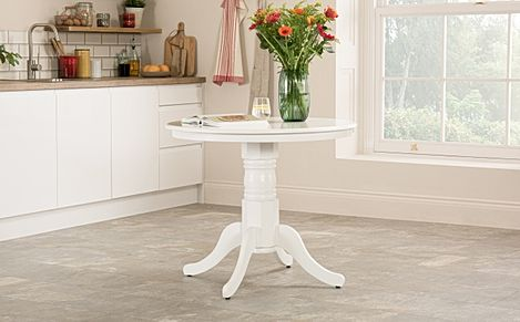 Kingston Round White 90cm Dining Table