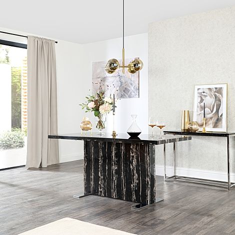 Magnus Black Marble 160cm Dining Table