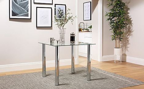 Nova Square Glass and Chrome 90cm Dining Table