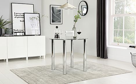 Solar Round Glass Dining Room Table 90cm (Chrome)