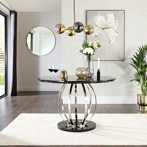 Savoy Round Black Marble and Chrome Dining Table