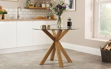 Hatton Round Oak and Glass 100cm Dining Table