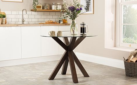 Hatton Round Dark Wood and Glass 100cm Dining Table