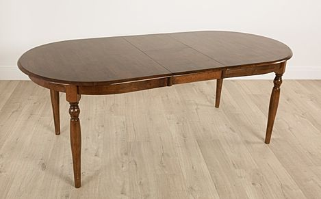 Albany Oval Dark Wood Extending Dining Table-170-210cm